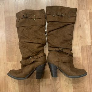 Brown Just Fab Fall/ Winter Heeled Boots